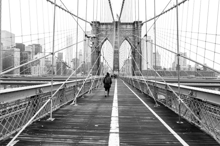 New-York Pont de Brooklyn en N&B Ekla